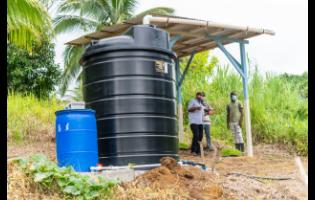 The rainwater harvesting system that was donated by Sean Paul Foundation and Food For The Poor Jamaica.
